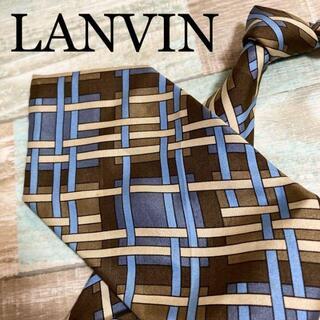 ランバン(LANVIN)の✨極美品✨LANVIN ネクタイ パターン柄 ストライプ柄 ネイビー 高級シルク(ネクタイ)
