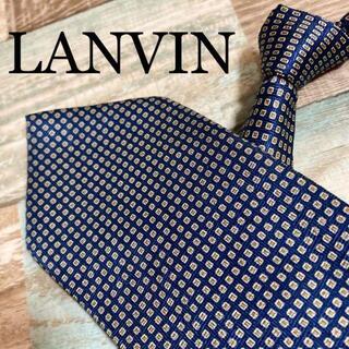 ランバン(LANVIN)の✨極美品✨LANVIN ネクタイ パターン柄 ドット柄 ネイビー 高級シルク(ネクタイ)