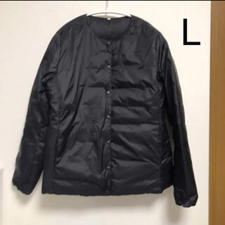 ムジルシリョウヒン(MUJI (無印良品))の無印 ノーカラー ブルゾン L ポケッタブル ダウン ジャケット 黒(ダウンジャケット)