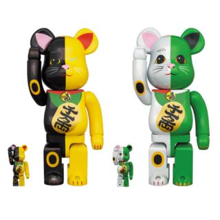 メディコムトイ(MEDICOM TOY)のBE@RBRICK 招き猫 100% 400% 白×緑 金×黒 2体セット(その他)