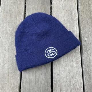 ステューシー(STUSSY)のMADE  IN USA stussy ニット帽 ニットキャップ ネイビーカラー(ニット帽/ビーニー)