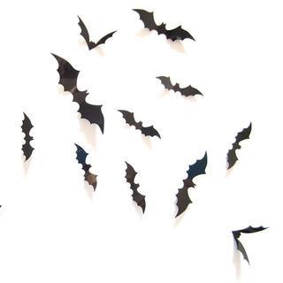 3D立体コウモリ 12点セット 黒 ハロウィン //bds