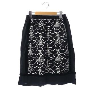 ツモリチサト(TSUMORI CHISATO)のツモリチサト スカート 台形 ひざ丈 バレリーナ刺繍 2 ブラック ホワイト(ひざ丈スカート)