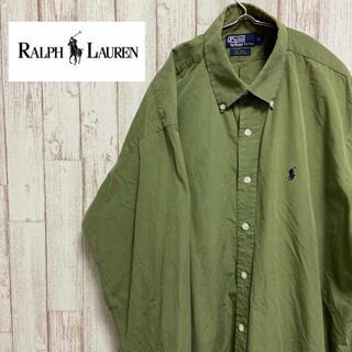POLO RALPH LAUREN - ラルフローレン 刺繍 長袖シャツ 90s オールドタグ XL