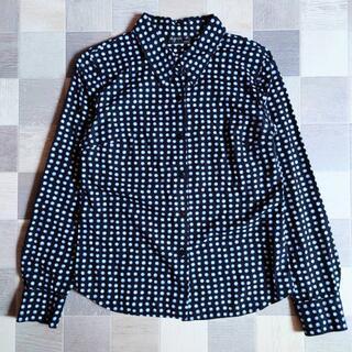 アニエスベー(agnes b.)の90's agnes b. ドット シャツ ブラック×ライトブルー(シャツ/ブラウス(長袖/七分))