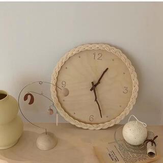 韓国インテリア 掛け時計 木 ウッド 時計 ローマ数字