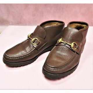 グッチ(Gucci)のグッチ 靴 女性 ショートブーツ ハイカット 革 茶 23.5cm(ブーツ)