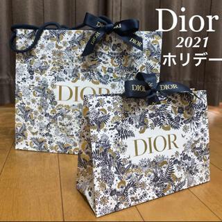 クリスチャンディオール(Christian Dior)の2枚セット ディオール  限定 ショッパー ホリデー 大 紙袋 ラッピング(ラッピング/包装)
