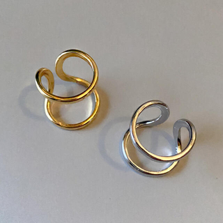 TODAYFUL - Double line silver ring No.706