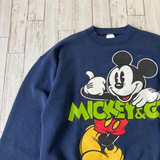 ディズニー(Disney)のMickey ミッキー プリントスウェット USA製 XLサイズ 古着 (スウェット)