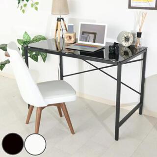 ワークデスク ガラストップ 強化ガラス 机 110×45cm ホワイト ブラック(オフィス/パソコンデスク)