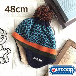アウトドア(OUTDOOR)の☸️【48cm】アウトドア 耳当て付 チェック 帽子(帽子)