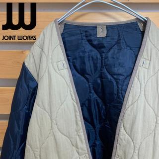 JOINT WORKS キルティングジャケット 切り替え ベージュ ブルー 古着(ブルゾン)