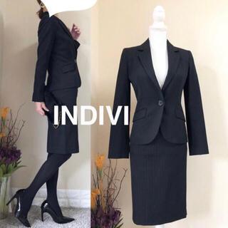 インディヴィ(INDIVI)のINDIVI インディヴィ ピンストライプ セットアップ スーツ 36 黒(スーツ)