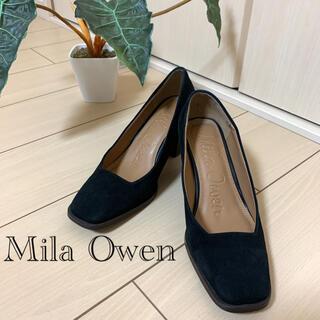 ミラオーウェン(Mila Owen)のMila Owen  スクエアトゥ バックスキン パンプス 黒 チャンキーヒール(ハイヒール/パンプス)