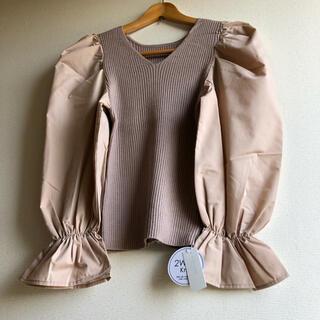 natural couture - 【新品タグ付き】袖パフ異素材切替ニット(ベージュ)ナイスクラップ