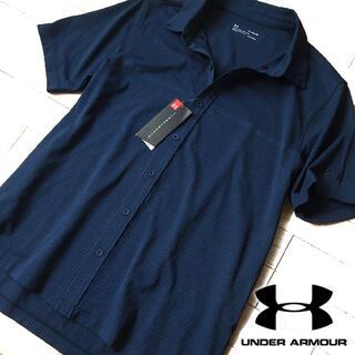 アンダーアーマー(UNDER ARMOUR)の新品タグ付 XL アンダーアーマー ゴルフ メンズ 半袖シャツ ネイビー(ウエア)