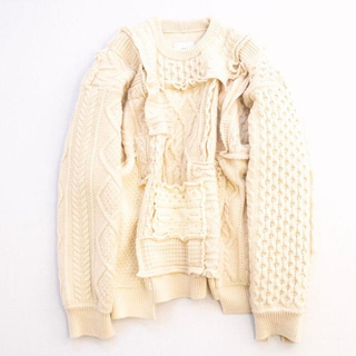 COMOLI - stein Oversized Interlaced Cable Knit LS