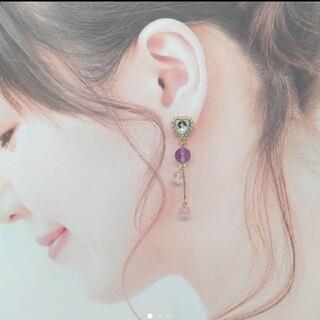 天然石ピアス◆アメジスト◆ピンク桜キャッツアイ◆水晶◆キラキラハートポスト(ピアス)