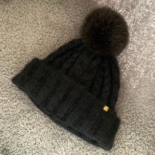 カシラ(CA4LA)のCA4LA カシラ ポンポン ニット帽 ブラック(ニット帽/ビーニー)