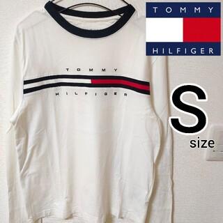 トミーヒルフィガー(TOMMY HILFIGER)のトミーヒルフィガー ホワイト 長袖Tシャツ カットソー メンズ S 刺繍ロゴ(Tシャツ/カットソー(七分/長袖))