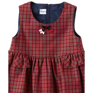 familiar - ファミリア familiar 赤 チェック ワンピース ジャンパースカート