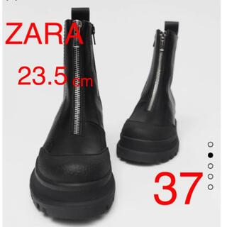 ザラ(ZARA)のZARA ジップ付き ショートブーツ サイドジッパー アンクルブーツ 37(ブーツ)