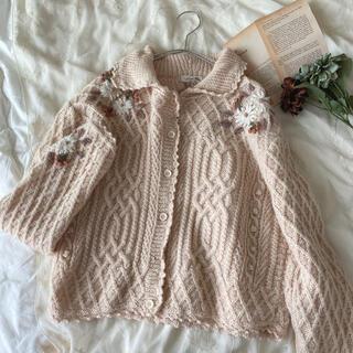 Lochie - vintageレトロ古着ケーブル編みぽんぽんお花刺繍飾り襟付きニットカーディガン