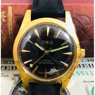 オリス(ORIS)の知的なブラック&ゴールド!ORISオリス1970'Sヴィンテージ メンズ腕時計(腕時計(アナログ))