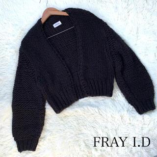 フレイアイディー(FRAY I.D)の値下げ❗️FRAY I.D ニットカーディガン ボレロ 黒 フリーサイズ 羊毛混(カーディガン)