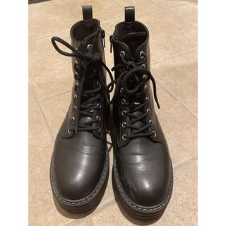 エイチアンドエム(H&M)の専用 レースアップブーツ ブラック 40 26cm(ブーツ)