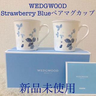WEDGWOOD - WEDGWOOD 新品ウェッジウッドワイルドストロベリーブルーペアマグカップ2個