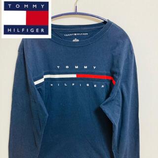 トミーヒルフィガー(TOMMY HILFIGER)のTOMMY HILFIGER 長袖Tシャツ⭐️フロントビッグ刺繍ロゴ/ネイビー(Tシャツ/カットソー(七分/長袖))