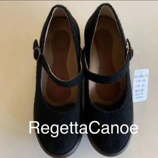 リゲッタカヌー(Regetta Canoe)の☆新品★ リゲッタカヌー  ウール ワンストラップ パンプス 黒 S(ハイヒール/パンプス)