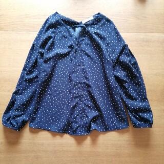 ショコラフィネローブ(chocol raffine robe)のchocol raffine*黒ブラウス白水玉ドット(シャツ/ブラウス(長袖/七分))