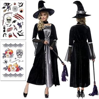 魔女 衣装 大人 コスプレ ハロウィン4点セット 仮装 コスチューム(衣装一式)