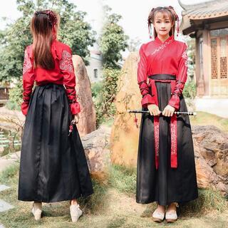 紅L 漢服 コスプレ 衣装 レディース 中国服 唐装 ハロウィン 宮廷 華ロリ(衣装一式)