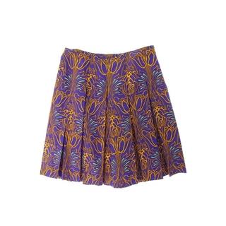 プラダ(PRADA)のプラダ ボタニカル総柄シルクスカート 42(ひざ丈スカート)