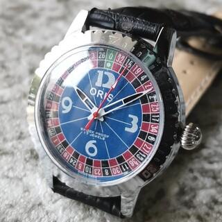 オリス(ORIS)のオリス ORIS シルバー ブルー カジノ 3針 1970s 整備済 機械式(腕時計(アナログ))