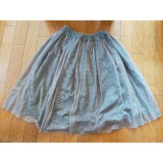カーキ&茶色のレーススカート(ひざ丈スカート)