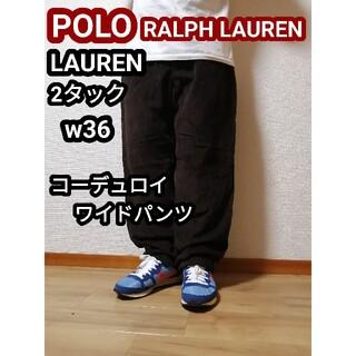 ポロラルフローレン(POLO RALPH LAUREN)のラルフローレン Lauren コーデュロイパンツ ワイドパンツ バギーパンツXL(チノパン)