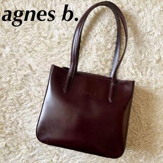 agnes b. - アニエスベー ボヤージュ トートバッグ 肩掛け可 ロゴ 型押し レザー ボルドー