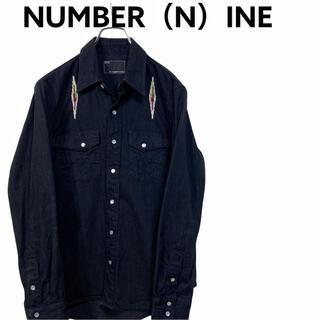 ナンバーナイン(NUMBER (N)INE)の【廃盤】ナンバーナイン 刺繍 チマヨ柄 ネイティブ柄 デニム シャツ 黒 古着(シャツ)