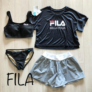 FILA - 新品 FILA フィラ 水着 4点セット ブラトップ ショートパンツ BK L