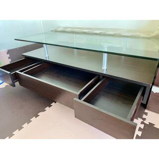 収納付きダイニングテーブル ローテーブルガラス120cm