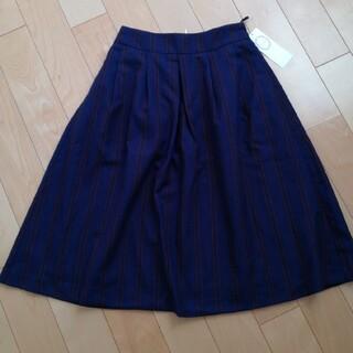 テチチ(Techichi)の新品タグつき テチチ マルチストライプフレアスカート ネイビー M(ロングスカート)