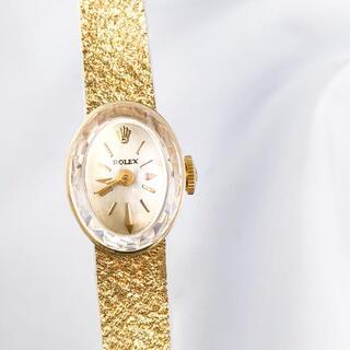 ROLEX - 【仕上済】ロレックス カットガラス K14YG オーバル レディース 腕時計
