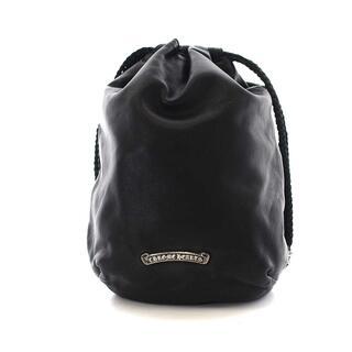 Chrome Hearts - クロムハーツ クロスパッチ ドローストリング 巾着袋  ポーチ レザー 黒