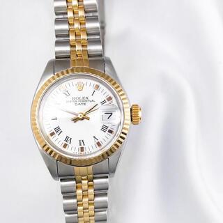ROLEX - 【OH済】ロレックス オイスター デイト ホワイトローマン レディース 腕時計