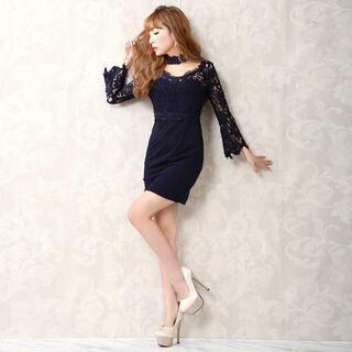 dazzy store - [Sサイズ]クラシカルワンカラーレース袖ミニタイトドレス